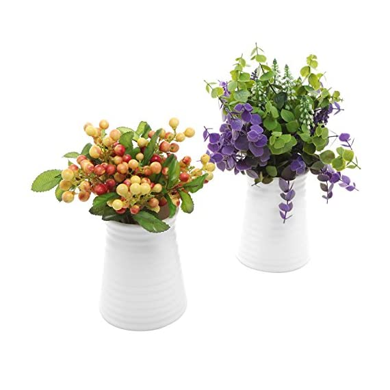 MyGift Ribbed White Ceramic Flower Vases/Tabletop Plant Containers, Set of 2 - A pair of white ceramic vases with an elegant tapered shape and a ribbed exterior. Can be used to hold fresh, silk, or dried flowers as well as office supplies and other items. Perfect for windowsills, office desktops, and even wedding tables. - vases, kitchen-dining-room-decor, kitchen-dining-room - 51NRPg fAYL. SS570  -