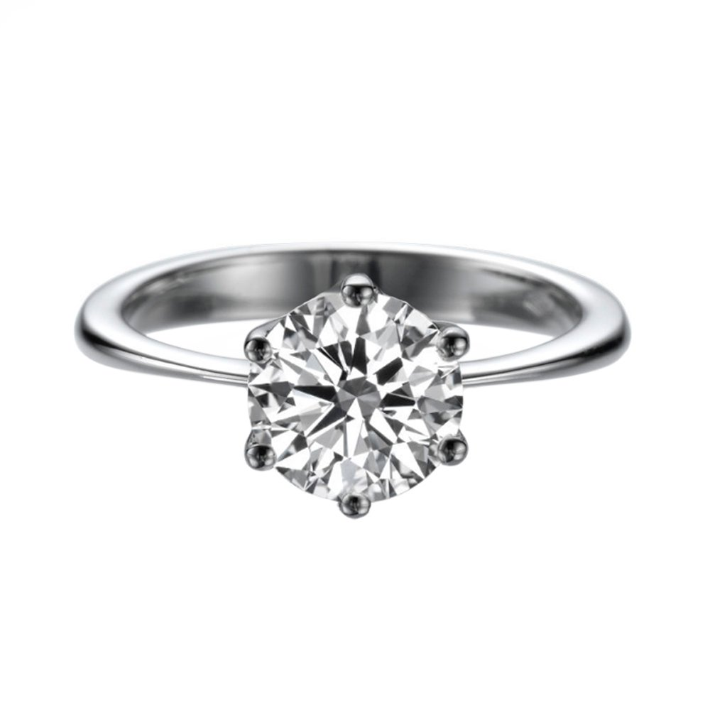 8.00MM Forever One D-F VS Moissanite Ring (1.60 ct Moissanite Weight, 1.90 ct dew) Classic 6 prongs 14K Gold by Diamond Mine