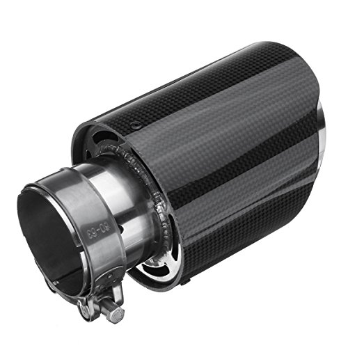 63mm Inlet Universal Glossy Carbon Fiber Car Exhaust Pipe Tail Muffler End - End Carbon Exhaust