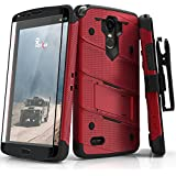 Zizo BOLT Series compatible with LG Stylo 3 Case Military Grade Drop Tested with Tempered Glass Screen Protector, Holster, Kickstand RED BLACK