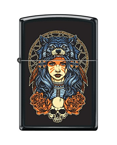 (Zippo Custom Lighter Design Women in Wolf Head Dress with Skull and Roses Windproof Collectible - Cool Cigarette Lighter Case Made in USA Limited Edition & Rare)