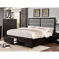 HOMES: Inside + Out IDF-7511DR-Q Furniture of America Friedman Louver Storage Bed, Queen, Dark Grey