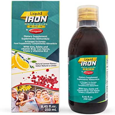 Ceregumil Liquid Iron Supplement – Daily Vitamin with Folic Acid and B12 Supports Red Blood Cells and Energy with No Constipation Lemon Flavored, Gluten-Free, and Vegan Iron Supplement 8.46 Onz.