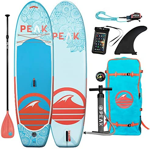 Peak 10 Yoga Fitness Inflatable Stand Up Paddle Board 6 Thick iSUP and Accessory Set Bundle 32 Stable Wide Stance with Large Non-Slip Surface 275 lb Capacity
