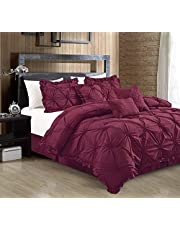 Casa Platino 7-Piece Comforter Set, Bed-in-a-Bag Premium Quilted Solid Bedding Sets (1 Comforter, 2 Pillow Sham, 3 Decorative Pillows, 1 Bed Skirt) by Casa Platino