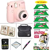Fujifilm Instax Mini 8 Camera Pink + VALUE BUNDLE for Fujifilm Instax Mini 8 Camera Includes; Fujifilm Instax Instant Film FIFTY SHEETS + Battery & Charger + Photo Album + Case + MORE