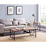 Weathered Oak Metal Frame Scroll Design Coffee Table 47.5 W