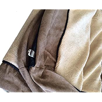 Replacement Beige Color Coral Fleece MicroFiber Plush Suede Slip Resistant External Zippered Gusset Style Luxurious Comfortable Soft External Dog Pet Bed Cover (41''x27''x4'')