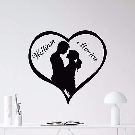 Wwyjn Custom Names Love Heart Wall Decal Removable Loving