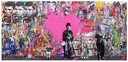 Llxhg抽象キャンバス絵画ポスターと版画グラフィティストリートポップアート壁写真用リビングルーム画像装飾-40×120センチ