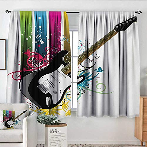 (Mozenou Guitar Window Curtain Drape Bass Guitar on Colorful Vertical Stripes with Floral Natural Artistic Ornaments Drapes for Living Room 55