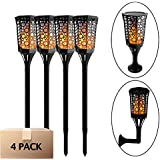 Aluvee Solar Flames Lights Upgraded, 4 Pack Waterproof Flickering Flames Torches Lights Outdoor Solar Spotlights Landscape Decoration Lighting Auto On/Off Security Torch Light for Patio Driveway
