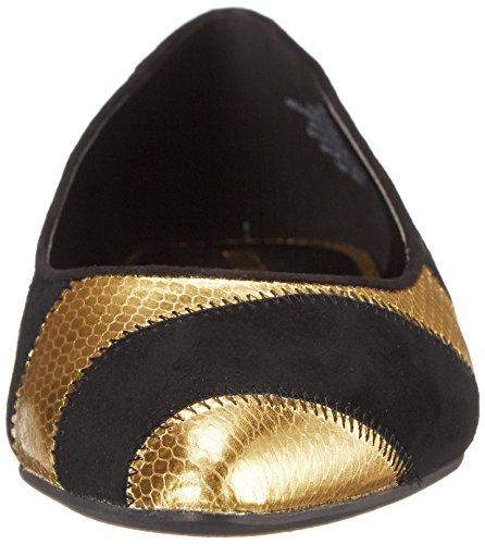 Nine Women's Outnow Black Ballet West Gold Synthetic Flat TTrqFOwx