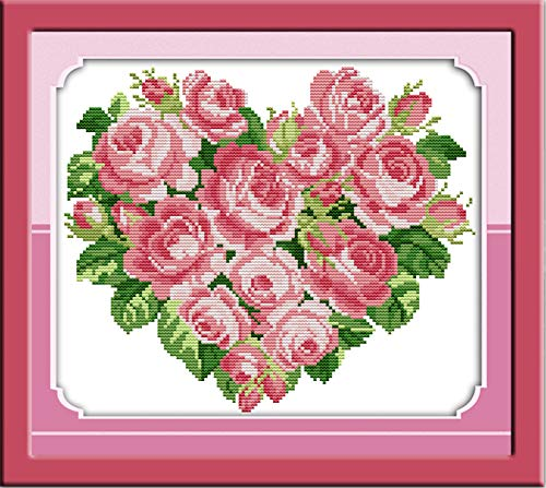 - LanMent Rose Heart Pink Stamped Cross Stitch 14CT Counted Kits Cross-Stitching Pattern Embroidery for Beginner Adults Home Decor Birthday Gift 12.6 x 11 inches