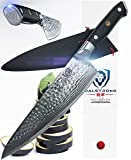 DALSTRONG Chef's Knife - Shogun Series X Gyuto - Japanese AUS-10V - Vacuum Treated - Hammered Finish - 8'' - w/ Guard