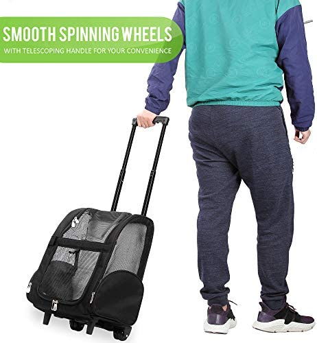 Mochila de viaje de lujo para mascotas con ruedas dobles color negro aprobado por la mayoría de aerolíneas 3