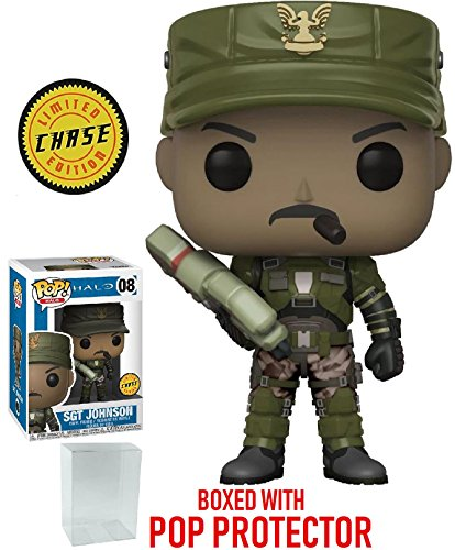 Funko Pop! Giochi Halo - Sergeant Johnson Chase Variant Limited EditionVinyl Figure (in Bundle con Custodia protettiva Pop Box