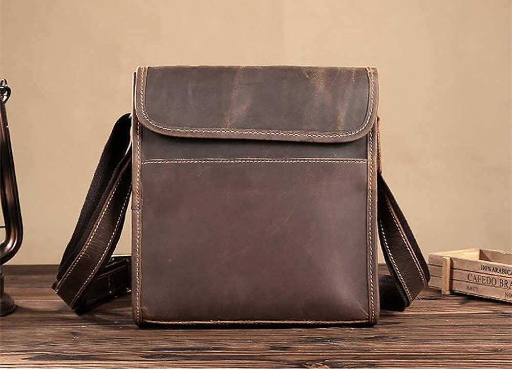 Mens vertical Satchel Vintage flap top closure leather messenger shoulder