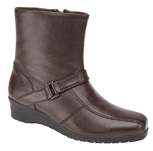 Inside Softie Boot Ankle Comfys Leather Softie Wedge Super Leather Heel Zip Mod Brown f5WP6qq