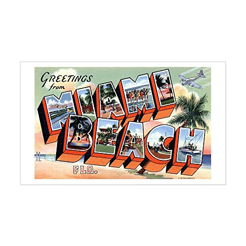 CafePress - Miami Beach Florida FL Rectangle Sticker - Rectangle Bumper Sticker Car Decal