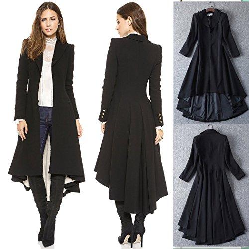 Costume Noire Cosplay Manteau Carnaval Manteaux Veste Gothique avec Uniforme Punk Femme Trench Longue mioim Stailpunk qWZ6f6