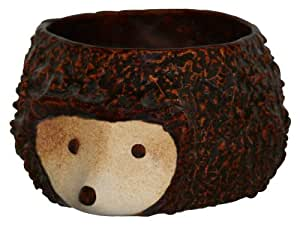 Maceta erizo, 26x 13cm, color marrón brillante, de frostsicherem Loza