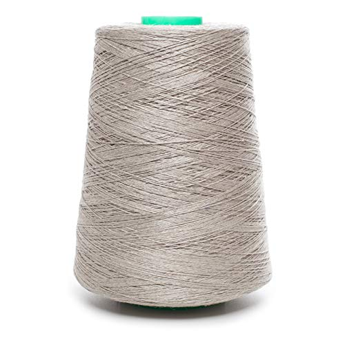 (Linen Yarn Cone - 100% Flax Linen - 1 LBS - Natural Grey - 3 PLY - Sewing Weaving Crochet Embroidering - 3.000 Yards)