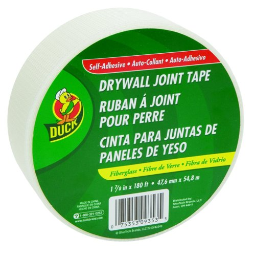 Fibatape Drywall - Duck Brand 280283 1.88-Inch by 180 Feet Single Roll Self-Adhesive Fiberglass Drywall Joint Tape