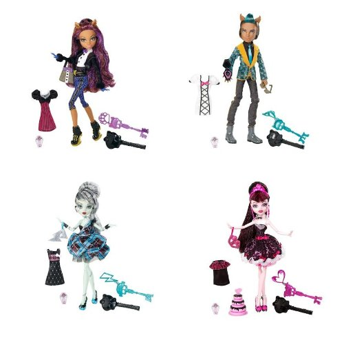 Monster High Sweet 1600 Complete Set Draculaura, Clawdeen Wolf, Clawd Wolf, Frankie Stein -