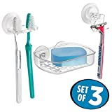 mDesign Power Lock Suction Razor Holder, Toothbrush Holder, and Suction Bar Soap Dish for Bathroom Shower - Pack of 3, Clear
