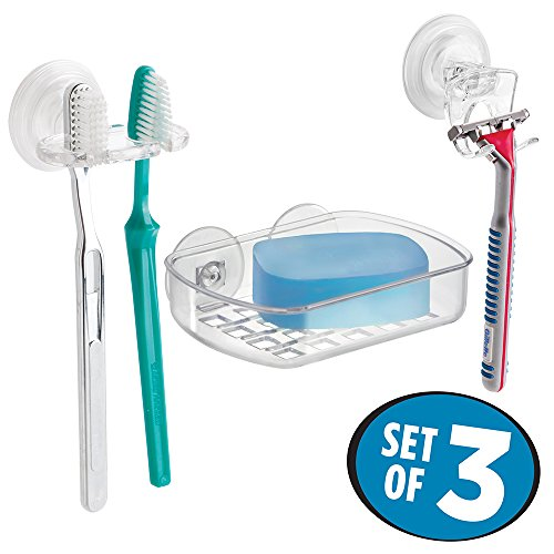 mDesign Suction Holder Toothbrush Bathroom