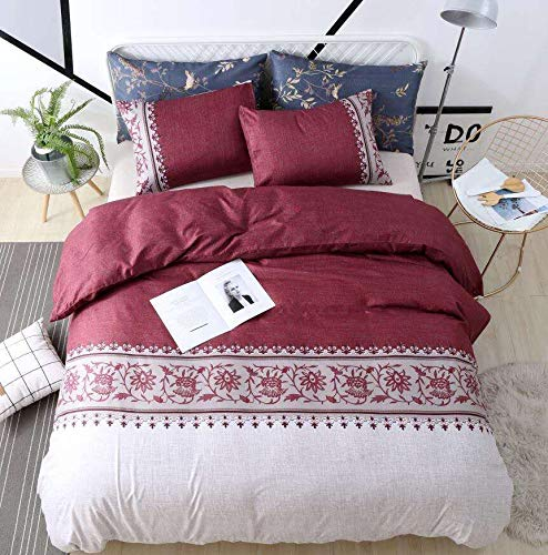 WeiWy Textile King Duvet Cover Set - 3 Piece(Without Duvet or Comforter Inside) - Luxury Soft Microfiber - White & Red Convallaria Pattern (Red Duvet)