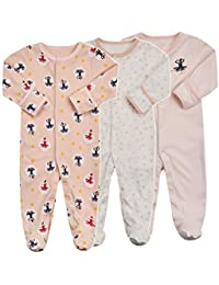 b7cd1c8f7d Baby Footed Pajamas with Mittens - 3 Packs Infant Girls Boys Footie Onesies Sleeper  Newborn Cotton