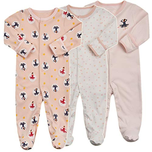 Baby Footed Pajamas with Mittens - 3 Packs Baby Girls Footie Onesies Sleeper Newborn Cotton Sleepwear Infant Outfits (0-3 Months, Dance/Pink/Dot)