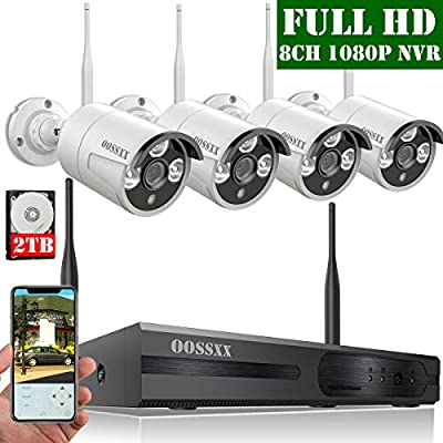 ?2019 Update? OOSSXX 8-Channel HD 1080P Wireless Security Camera System,4Pcs 1080P 2.0 Megapixel Wireless Indoor/Outdoor IR Bullet IP Cameras,P2P,App, HDMI Cord & 2TB HDD Pre-Install