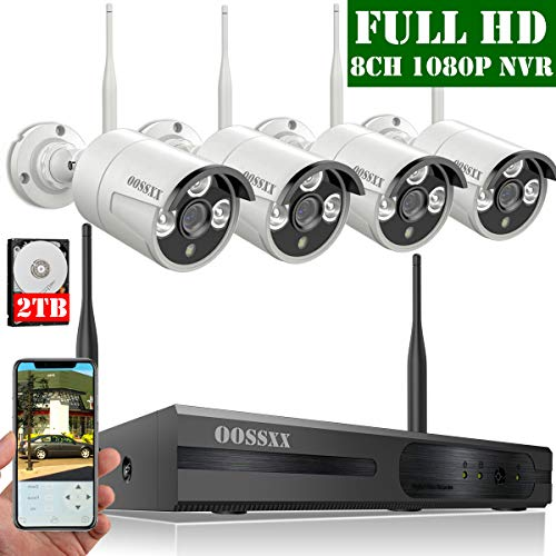 (【2019 Update】 OOSSXX 8-Channel HD 1080P Wireless Security Camera System,4Pcs 1080P 2.0 Megapixel Wireless Indoor/Outdoor IR Bullet IP Cameras,P2P,App, HDMI Cord & 2TB HDD Pre-Install)