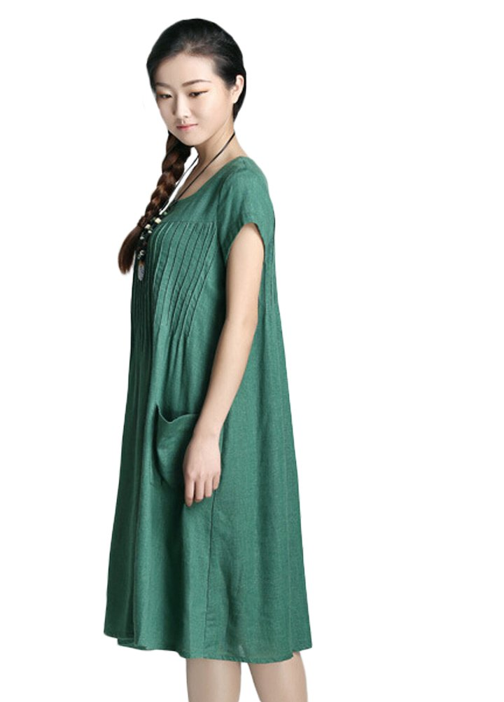 Minibee Women's Summer Solid Color Dress with Two Pockets Style 1 Green XL by Minibee (Image #3)