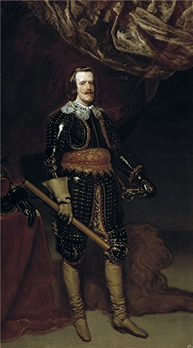 Polyster Canvas ,the High Quality Art Decorative Canvas Prints Of Oil Painting 'Velazquez Diego Rodriguez De Silva Y (Workshop) Felipe IV Armado Y Con Un Leon A Los Pies Ca. 1652 ', 20 X 36 Inch / 51 X 91 Cm Is Best For Gift For Bf And Gf And Home Decor And Gifts