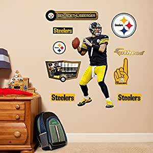 NFL Pittsburgh Steelers Ben Roethlisberger Fathead Wall Decal, Junior