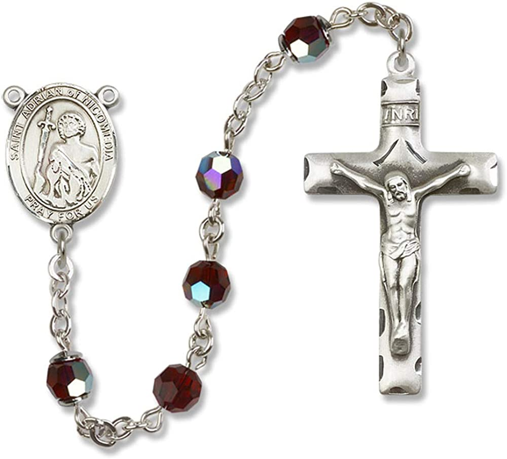 6mm Swarovski St Adrian of Nicomedia Center is the Patron Saint of Epidemics//Prison Guards//So All Sterling Silver Rosary with Garnet Austrian Tin Cut Aurora Borealis Beads