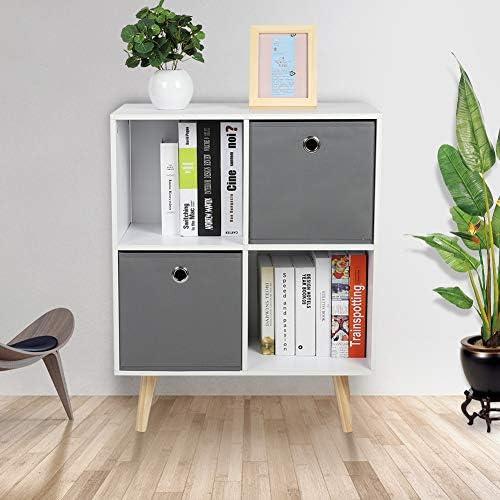 GOTOTOP Basic Bookcase Storage Shelves,4-Cube Stackable Bookshelf Display Storage System Compartment Organizer