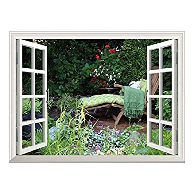 Removable Wall Sticker Wall Mural Deck Chair in a Quiet Garden with Beautiful Flowers Creative Window View Wall Decor, Made With Top Quality, Grand Expertise