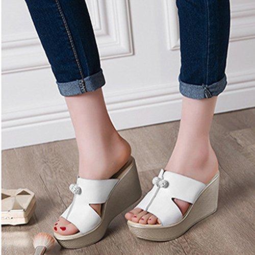 fereshte Synthetic White Beach Chic Flower Women's Platform for Slide Leather Holiday Sandals Toe Peep B CCUn1r