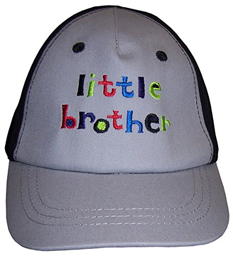 N'ice Caps Boys Authentic Construction Little Brother Embroidered Cap (12-24 months, grey/black) -