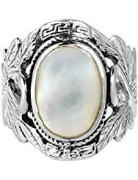 Beautiful Couple Swan Oval White Mother of Pearl .925 Sterling Silver Ring