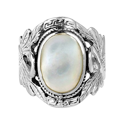 AeraVida Beautiful Couple Swan Oval White Mother of Pearl .925 Sterling Silver Ring - White Pearl Oval Of Mother