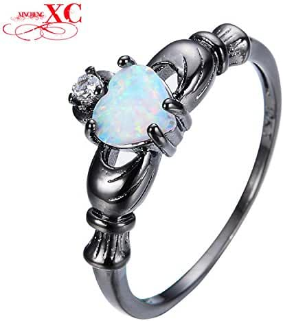 Slyq Jewelry New Heart Style White Opal Claddagh Ring Black Gold Filled Unique Jewelry Wedding Promise Ring Anel RB0565