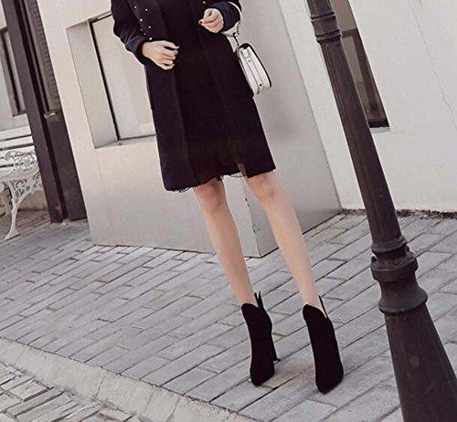 Elastic Black Chunkly Eu Moda 34 40 de 10cm Pure Corte V Talón Botines Chelsea Botas Botas punta estrecha Suede Color Martin Mujeres Boots Band vestir Boots Tamaño FTABqx