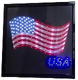 Printed American Flag USA 19'' x 19'' LED Sign with Hang Chain