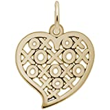 Rembrandt Charms, Hugs and Kisses Heart, 14k Yellow Gold